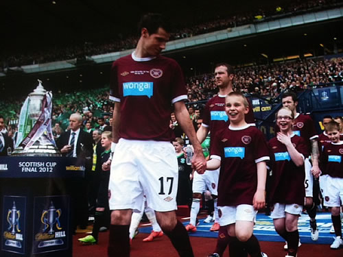 Liam Moyes mascot for Hearts at the Scottish Cup Final