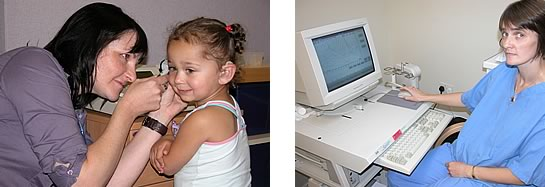 Child having hearing assessed (left) and woman checking results on computer (right)