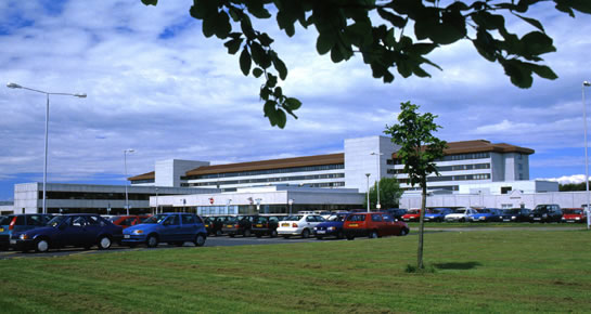 Exterior view of Crosshouse Hospital near Kilmarnock